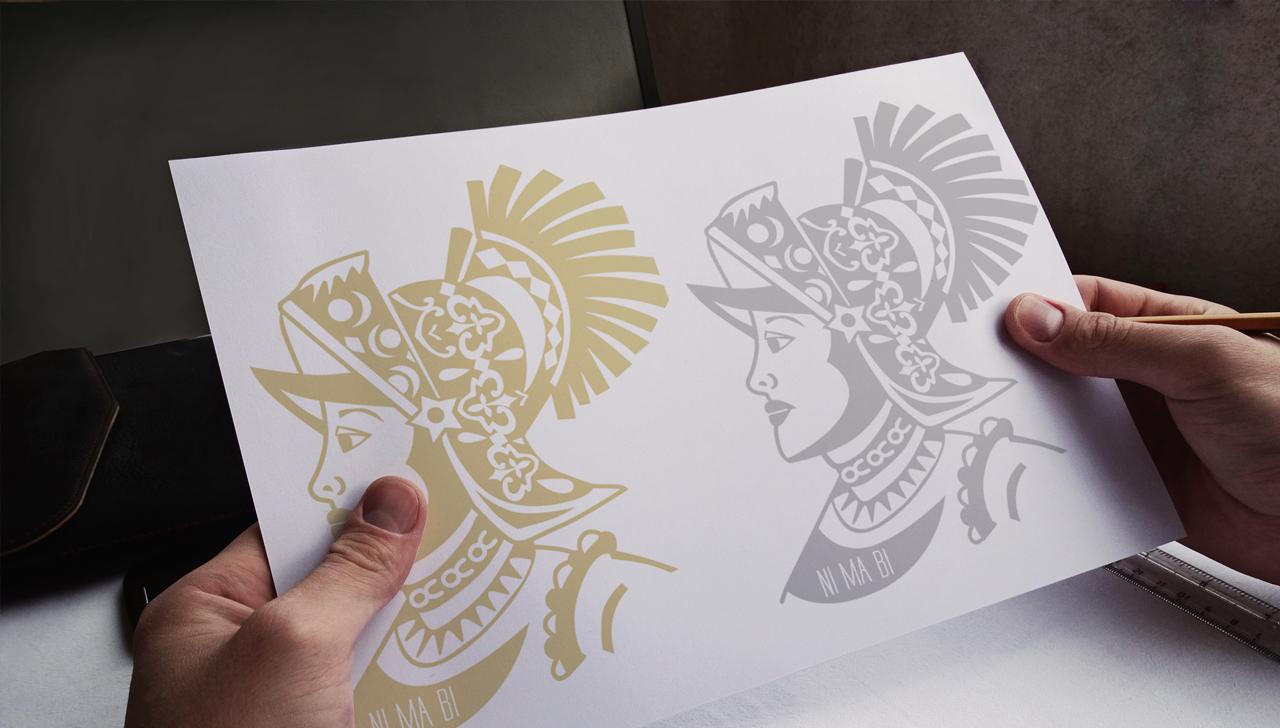 disegno ni ma bi in oro e argento