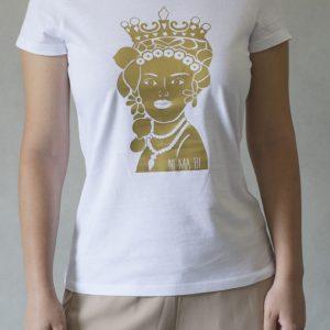 t-shirt ni ma bi bianca, disegno agata oro