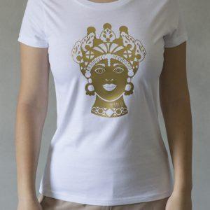 t-shirt ni ma bi bianca, disegno dorotea oro