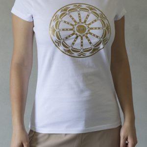 t-shirt ni ma bi bianca, disegno rotaluna oro