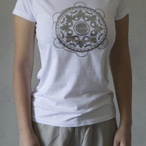 t-shirt ni ma bi bianca, disegno tammurì argento
